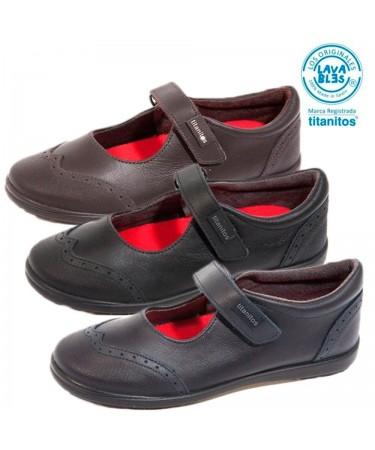 Zapatos colegiales niña en piel lavable