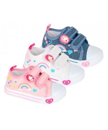 Zapatillas lona niña con cinta de cierre