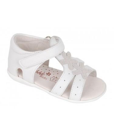 Sandalias niña blancas con cinta de cierre en empeine