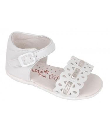 Sandalias niña blanca y plata